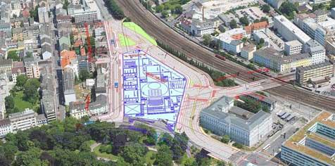 Straßensperren läuten die neue Linzer Oper ein! (Bild: Stadt Linz)