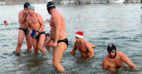 Neujahrsschwimmen in der eiskalten March (Bild: APA/Ernst Weiss)