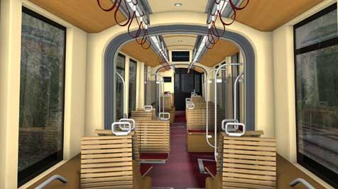 Neue Pöstlingberg-Bahn mit viel Holz und Leder (Bild: Bombardier)
