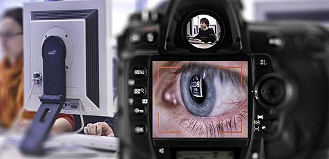Reflexionen verraten Bildschirminhalt (Bild: Uni Saarland/ Uwe Bellhäuser)