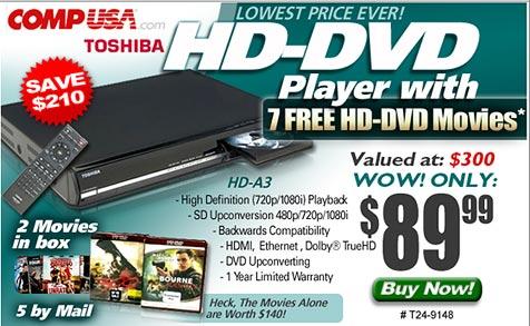 US-Händler verscherbelt HD-DVD-Player um 60 ¿