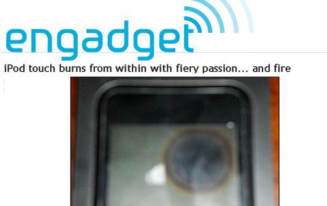 Nächster iPod, der sich selbst entzündete (Bild: Engadget.com)