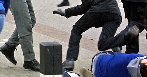 Betrunkene Fußballfans randalieren auf der Gugl (Bild: dpa/dpaweb/dpa/Ingo Wagner)