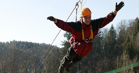 Längste Seilrutsche Europas geht in Betrieb (Bild: APA/ Reinhold Bauböck)