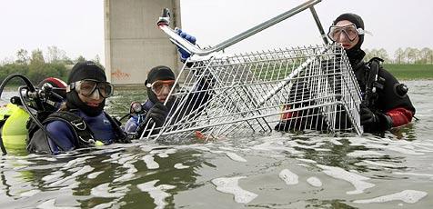 Taucher reinigen die Neue Donau in Wien (Bild: APA/MARTIN VOTOVA/PID)