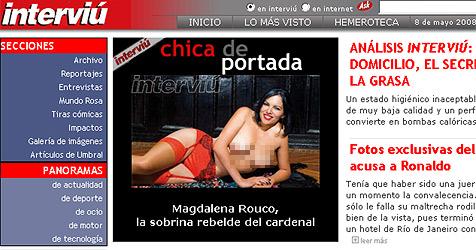 Spanische Erzbischofs-Nichte zeigt blanken Busen (Bild: Screenshot www.interviu.es)