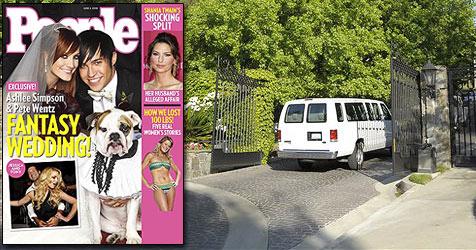 """Ashlee Simpsons und Pete Wentz"""" Hochzeitsfoto (Bild: AP Photo, Cover People)"""