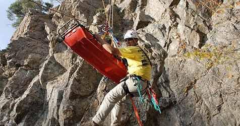 Schwerverletzter von Seilbahngondel aus gerettet (Bild: APA/MATTHIAS MARXGUT/BERGRETTUNG VORARLBERG)