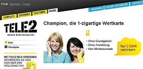 """""""Tele2"""" wegen irreführender Werbung verurteilt (Bild: Tele 2)"""