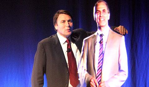 Australier hält Vortrag als 3D-Hologramm (Bild: Telstra)