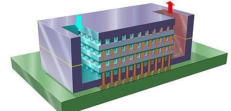 Durchbruch in der Kühlung von 3D-Chips (Bild: IBM)