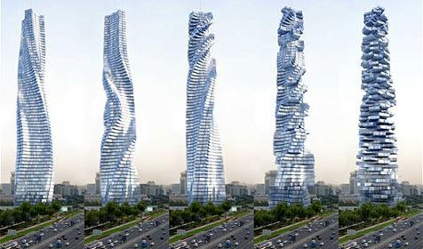 Wolkenkratzer mit drehenden Stockwerken