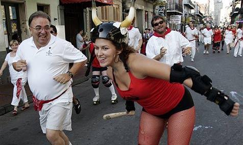 Witziges Gegenstück zu Pamplona in New Orleans