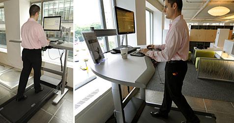 Computer-Tisch mit Laufband für fitte Mitarbeiter (Bild: AFP)