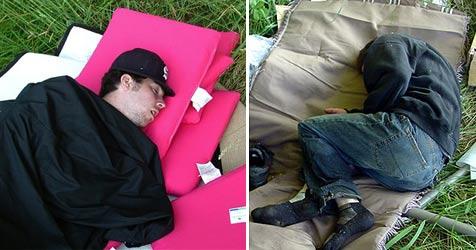 Betrunkene Diebe schlafen am Tatort ein