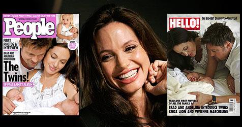 Die ersten Cover der Jolie-Twins (Bild: AP, Cover: People, Hello)