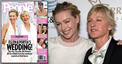 Ellen DeGeneres zeigt ihre Hochzeitsfotos (Bild: AP Photo, Cover: People)