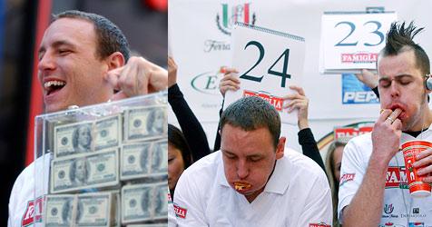 Rekord im Pizzaschnitten-Essen (Bild: AFP)