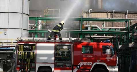 Brand in Chemiepark löst Besorgnis aus (Bild: Christoph Gantner)