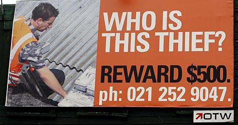 Foto von Dieb auf Plakatwänden veröffentlicht