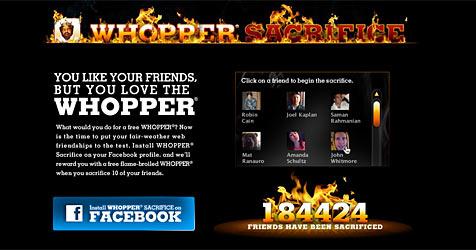 Zehn Facebook-Freunde für einen Burger