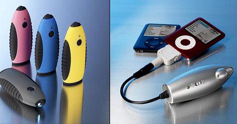 Stromspeicher lädt iPod oder Handy auf (Bild: www.new-tech-products.com)