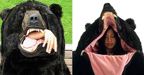 Künstlerin hat Schlafsack im Bärenstil kreiert