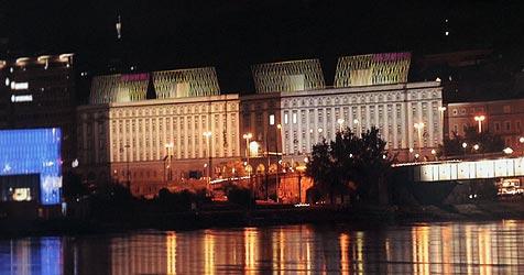 Lichtkegel für Linzer Brückenkopfgebäude? (Bild: Chris Koller)