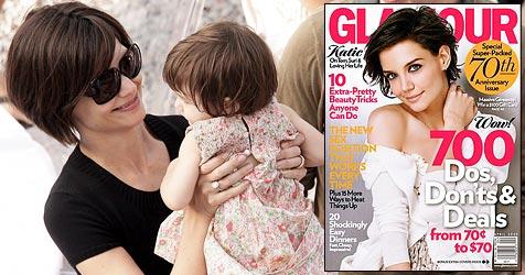 """Katie Holmes privat wie noch nie (Bild: EPA, Cover """"Glamour"""")"""