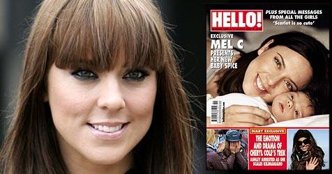 """Mel C zeigt ihre süße Scarlet (Bild: AP Photo, Cover """"Hello!"""")"""