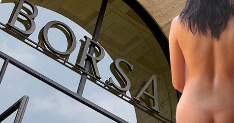 Pornoqueen protestiert an Mailands Börse (Bild: AP, dpa/A9999 Db Barbara Munker)