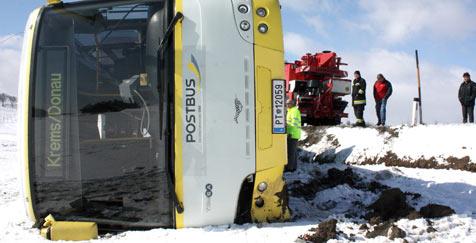Linienbus kommt ins Schleudern und kippt um (Bild: APA/FREIWILLIGE FEUERWEHR KREMS)