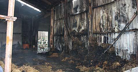 Lagerhalle in Unternalb völlig ausgebrannt (Bild: Wolfgang Thürr)