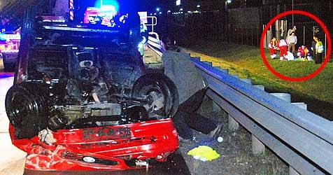 Lenker bei Crash aus Pkw geschleudert (Bild: Herbert Wimmer/BFK-Mödling)
