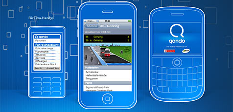 """""""Qando"""" bringt Öffi-Fahrpläne aufs Handy (Bild: Qando.at)"""