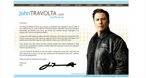 John Travolta bedankt sich bei Kollegen (Bild: Screenshot travolta.com)