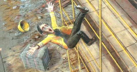 Riesiges Kreidebild zeigt Absturz eines Arbeiters (Bild: APA/Georg Hochmuth)