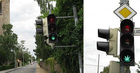 """Scherzbold """"verschönert"""" Straßenampeln (Bild: Polizeipräsidium Südhessen)"""
