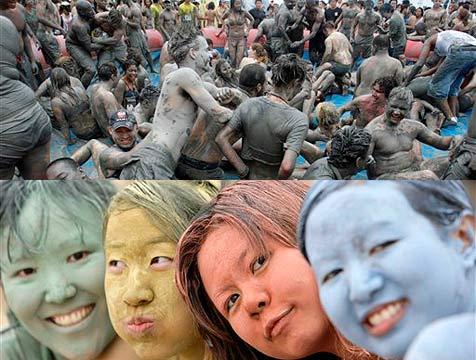 Bunter Schlammspaß bei Festival in Südkorea