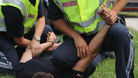 2.120 Polizisten im Dienst verletzt (Bild: APA/HERBERT PFARRHOFER)