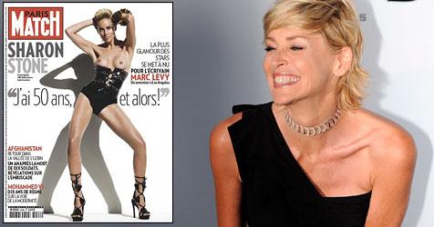 """Sharon Stone posiert mit 51 oben ohne (Bild: EPA Photo, Cover """"Paris Match"""")"""