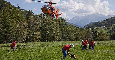 Schwieriger Rettungseinsatz am Untersberg (Bild: BRK BGL)