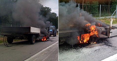 Lkw-Anhänger auf A22 in Brand geraten (Bild: FF Stockerau)