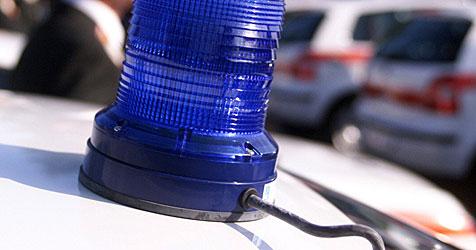 Bursche auf Dach von Polizeiauto herumgetrampelt (Bild: Andi Schiel)
