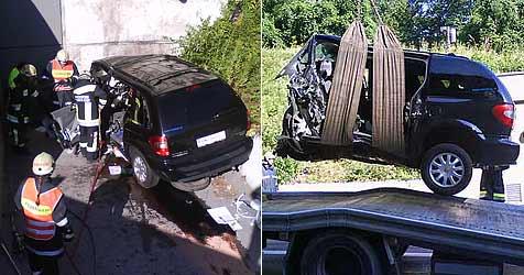 Mit Pkw frontal gegen Tunnelportal gekracht (Bild: FF Gloggnitz)
