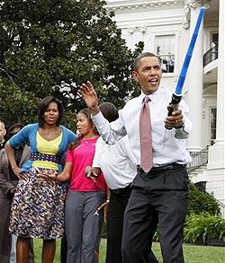 US-Präsident Obama zückt das Lichtschwert