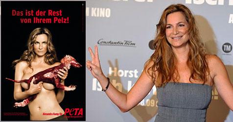 Alexandra Kamp oben ohne für PeTA (Bild: PeTA, AP Photo)