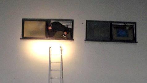 Einbrecher bleibt in Fenster stecken: Feuerwehr-Einsatz! (Bild: Stadtpolizeikommando Steyr)