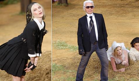 Karl Lagerfeld schickt seine Models ins Heu