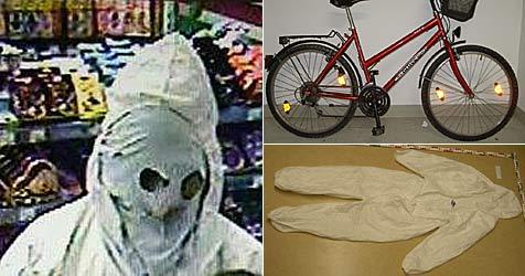 Maskierter Räuber flüchtete auf rotem Damen-Fahrrad (Bild: Sicherheitsdirektion Niederösterreich)